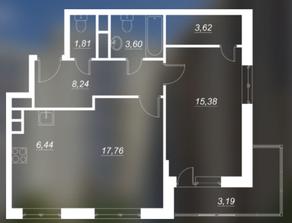 ЖК «Люблинский», планировка 2-комнатной квартиры, 56.85 м²