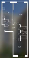 ЖК «Люблинский», планировка 2-комнатной квартиры, 70.50 м²
