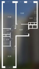 ЖК «Люблинский», планировка 2-комнатной квартиры, 73.72 м²