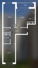 ЖК «Люблинский», планировка 2-комнатной квартиры, 67.71 м²