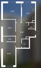 ЖК «Люблинский», планировка 3-комнатной квартиры, 80.61 м²
