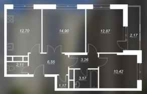 ЖК «Люблинский», планировка 3-комнатной квартиры, 67.55 м²