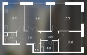 ЖК «Люблинский», планировка 3-комнатной квартиры, 73.49 м²
