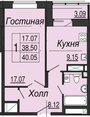 ЖК «на улице Кирова (мкр. Центральный)», планировка 1-комнатной квартиры, 40.05 м²