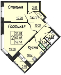 ЖК «на улице Кирова (мкр. Центральный)», планировка 2-комнатной квартиры, 59.51 м²