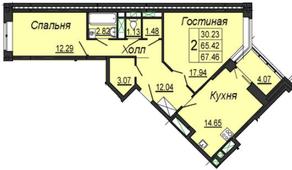 ЖК «на улице Кирова (мкр. Центральный)», планировка 2-комнатной квартиры, 67.46 м²