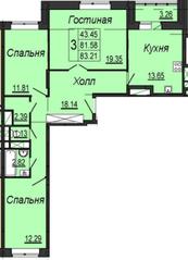 ЖК «на улице Кирова (мкр. Центральный)», планировка 3-комнатной квартиры, 83.21 м²