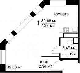 ЖК «Радужный» (Звенигород), планировка студии, 39.10 м²