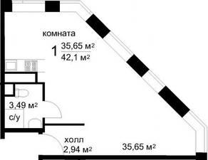 ЖК «Радужный» (Звенигород), планировка студии, 42.10 м²