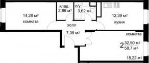ЖК «Радужный» (Звенигород), планировка 2-комнатной квартиры, 58.70 м²
