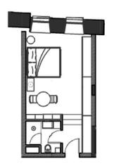 МФК «Roza Rossa», планировка студии, 28.00 м²