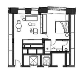 МФК «Roza Rossa», планировка студии, 47.00 м²