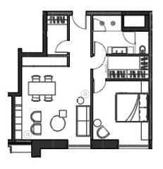 МФК «Boutique Hotel & Apartments Roza Rossa», планировка 1-комнатной квартиры, 59.00 м²