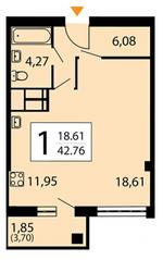 ЖК «Яуза парк», планировка 1-комнатной квартиры, 42.76 м²