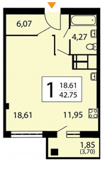 ЖК «Яуза парк», планировка 1-комнатной квартиры, 42.75 м²