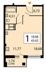 ЖК «Яуза парк», планировка студии, 43.42 м²
