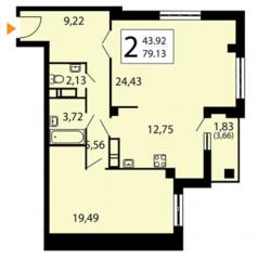 ЖК «Яуза парк», планировка 2-комнатной квартиры, 79.13 м²