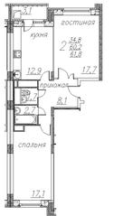 ЖК «Полет» (Ногинск), планировка 2-комнатной квартиры, 61.80 м²