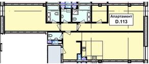 МФК «Roza Rossa», планировка 2-комнатной квартиры, 128.30 м²