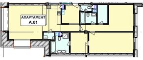 МФК «Roza Rossa», планировка 2-комнатной квартиры, 123.00 м²