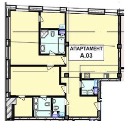 МФК «Roza Rossa», планировка 2-комнатной квартиры, 124.40 м²