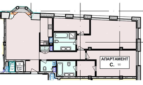 МФК «Roza Rossa», планировка 2-комнатной квартиры, 126.80 м²