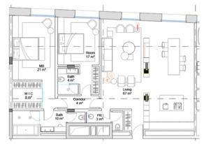 МФК «Roza Rossa», планировка 2-комнатной квартиры, 120.13 м²
