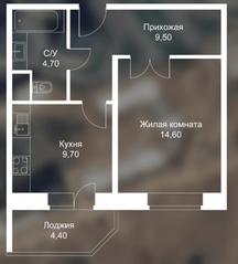 ЖК «Новоснегиревский», планировка 1-комнатной квартиры, 42.90 м²