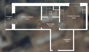 ЖК «Новоснегиревский», планировка 1-комнатной квартиры, 59.70 м²