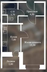 ЖК «Новоснегиревский», планировка 1-комнатной квартиры, 33.20 м²