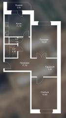 ЖК «Новоснегиревский», планировка 2-комнатной квартиры, 71.30 м²