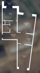 ЖК «Новоснегиревский», планировка 2-комнатной квартиры, 77.60 м²