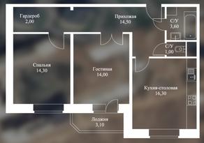 ЖК «Новоснегиревский», планировка 2-комнатной квартиры, 68.80 м²