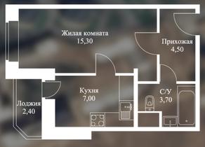 ЖК «Новоснегиревский», планировка 1-комнатной квартиры, 32.50 м²