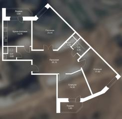 ЖК «Новоснегиревский», планировка 3-комнатной квартиры, 108.20 м²