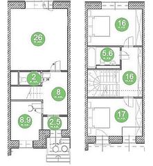 МЖК «Домодедово Таун», планировка 3-комнатной квартиры, 146.00 м²