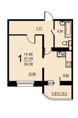 ЖК «Европейский» (Егорьевск), планировка 1-комнатной квартиры, 39.36 м²