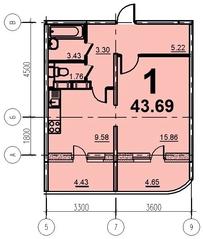 ЖК «Европейский» (Егорьевск), планировка 1-комнатной квартиры, 43.69 м²