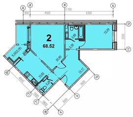 ЖК «Европейский» (Егорьевск), планировка 2-комнатной квартиры, 68.52 м²