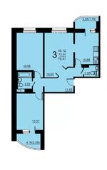 ЖК «Европейский» (Егорьевск), планировка 3-комнатной квартиры, 76.47 м²