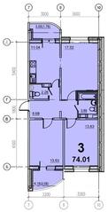 ЖК «Европейский» (Егорьевск), планировка 3-комнатной квартиры, 74.01 м²