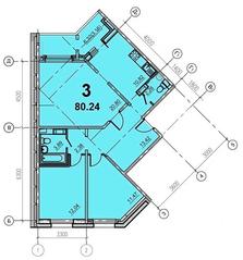 ЖК «Европейский» (Егорьевск), планировка 3-комнатной квартиры, 80.24 м²