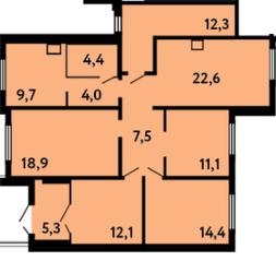 ЖК «на ул. Главмосстроя», планировка 5-комнатной квартиры, 122.30 м²