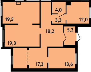 ЖК «на ул. Главмосстроя», планировка 5-комнатной квартиры, 112.50 м²