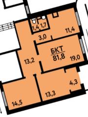 ЖК «на ул. Главмосстроя», планировка 5-комнатной квартиры, 81.80 м²