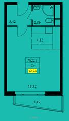 ЖК «Новокрасково», планировка студии, 32.24 м²