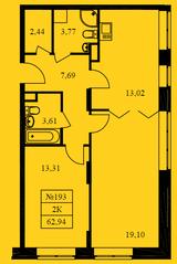 ЖК «Новокрасково», планировка 2-комнатной квартиры, 62.94 м²
