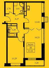 ЖК «Новокрасково», планировка 2-комнатной квартиры, 63.64 м²