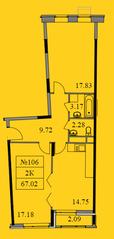 ЖК «Новокрасково», планировка 2-комнатной квартиры, 67.02 м²