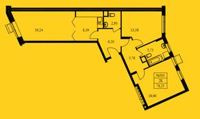 ЖК «Новокрасково», планировка 2-комнатной квартиры, 78.25 м²